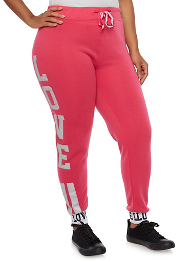 Plus Size Love Patch Joggers,FUCHSIA,large