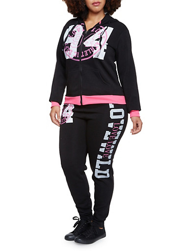 Plus Size Zip Front Hoodie with Love Graphic,BLACK,large
