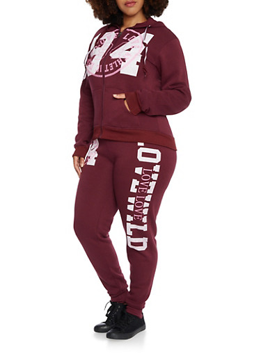 Plus Size Zip Front Hoodie with Love Graphic,BURGUNDY,large