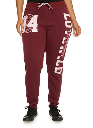 Plus Size Joggers with Love Graphic,BURGUNDY,large