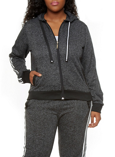 Plus Size Soft Knit Zip-Up Hoodie with Varsity Stripes,BLACK,large