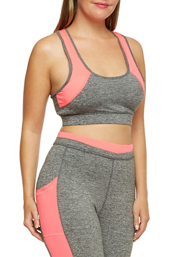 Plus Size Sports Bra with Neon Trim and Padding,FUCHSIA,large