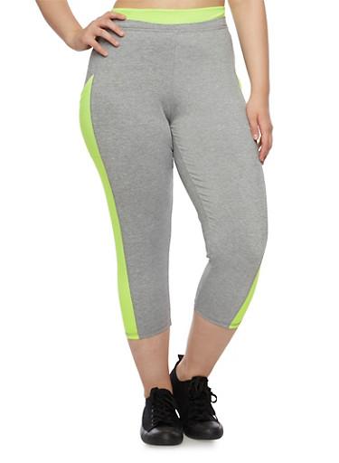 Plus Size Performance Capri Leggings with Neon Trim,GRAY,large