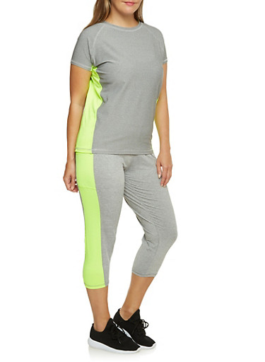 Plus Size Performance Tee with Neon Trim,GRAY,large