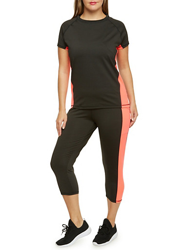 Plus Size Performance Tee with Neon Trim,CORAL,large