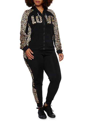 Plus Size Zip Front Hoodie with Leopard Print and Love Graphic,BLACK,large