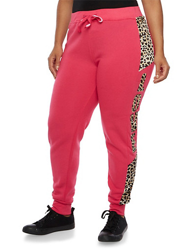 Plus Size Joggers with Leopard Print Panel and Love Graphic,FUCHSIA,large