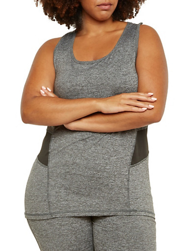 Plus Size Performance Tank Top with Color Block Paneling,BLACK,large