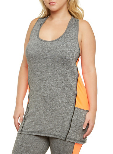 Plus Size Performance Tank Top with Neon Trim,CORAL,large