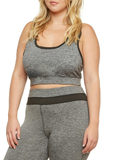 Plus Size Trimmed Sports Bra with Racerback,BLACK,large