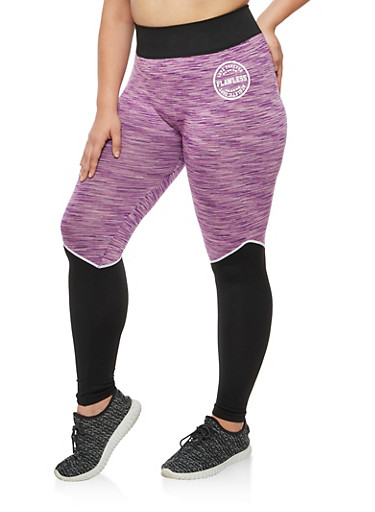 Plus Size Color Block Space Dye Leggings,PURPLE,large