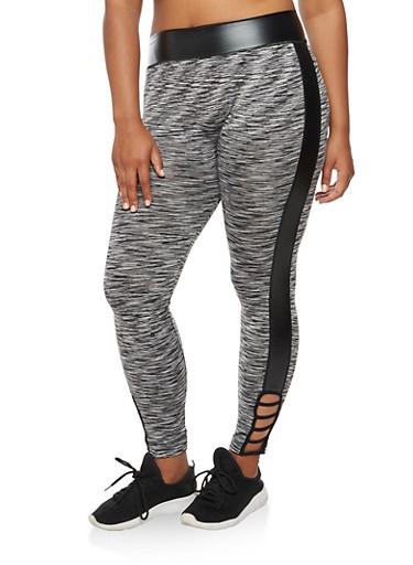 Plus Size Marled Lattice Detail Leggings,BLACK/WHITE,large