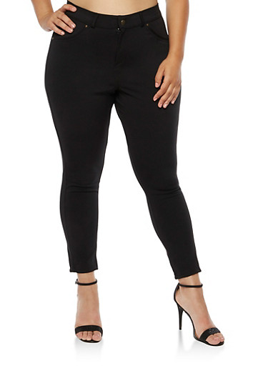 Plus Size Zip Front Jeggings,BLACK,large