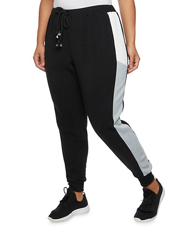 Plus Size Joggers with Color Block Side Stripes,BLACK,large