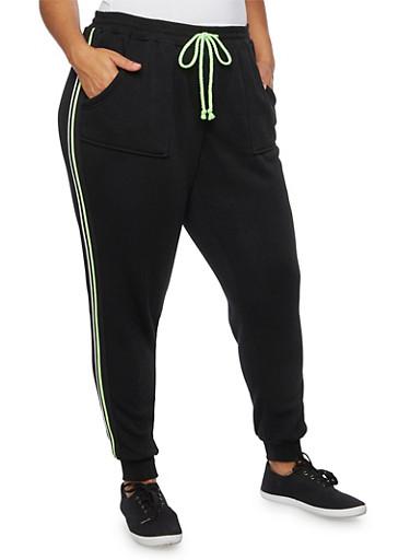 Plus Size Striped Fleece Joggers,BLACK,large