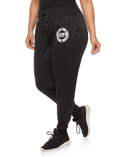 Plus Size Love Graphic Lace Up Sweatpants at Rainbow Shops in Jacksonville, FL | Tuggl