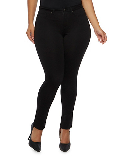 Plus Size Five Pocket Ponte Pants,BLACK,large