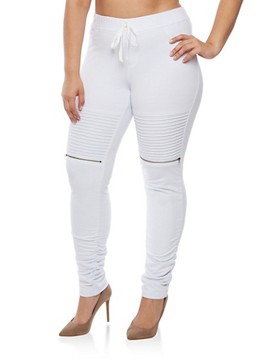 Plus Size Solid Moto Ruched Joggers,WHITE,large