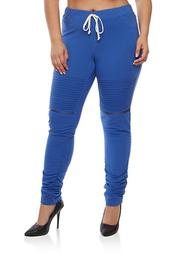Plus Size Solid Moto Ruched Joggers,ROYAL,large