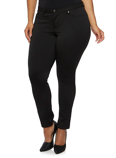 Plus Size Stretch Jeggings,BLACK,large