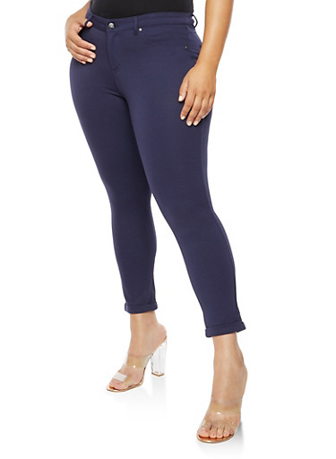Plus Size Solid Jeggings,NAVY,large