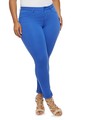 Plus Size Solid Jeggings,ROYAL,large