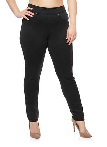 Plus Size Pull On Solid Pants,BLACK,large