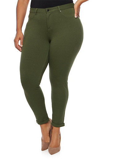 Plus Size Solid Stretch Jeggings,OLIVE,large