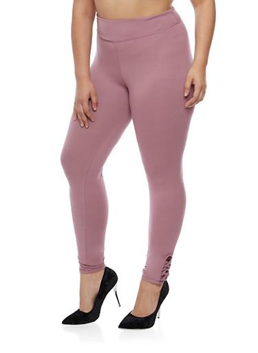 Plus Size Soft Knit Leggings with Lattice Detail,MAUVE,large