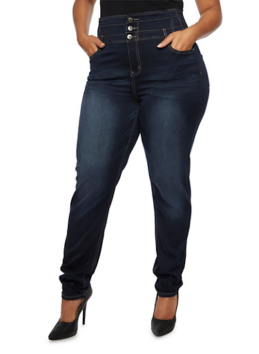Plus Size High-Waisted Skinny Jeans with Whisker-Wash Details,NAVY,large