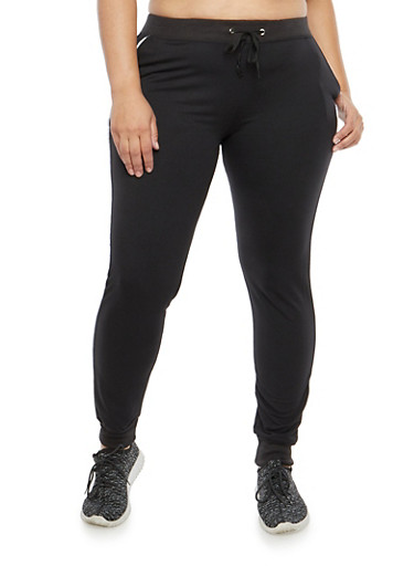 Plus Size Joggers with Contrast Piping,BLACK,large