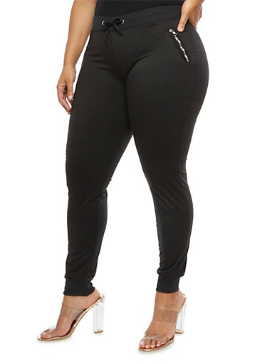 Plus Size Zip Pocket Joggers,BLACK,large