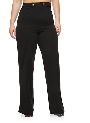 Plus Size Palazzo Pants with Gold Buttons,BLACK,large