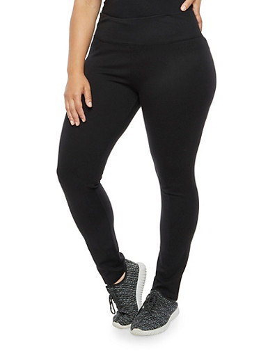 Plus Size Ponte Knit Tummy Tuck Leggings,BLACK,large