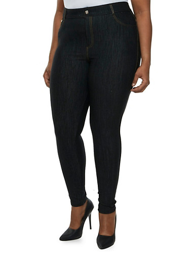 Plus Size Jeggings with Crystal Accents,BLACK,large