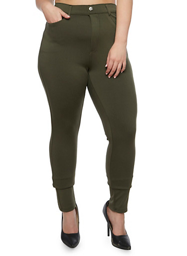 Plus Size Solid Jeggings,GREEN (OLIVE),large