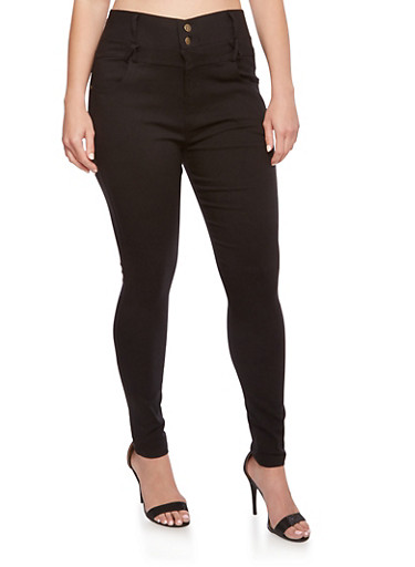 Plus Size High Waisted Stretch Denim Skinny Pants,BLACK,large