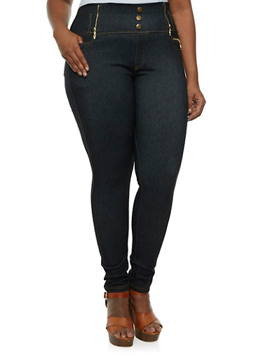 Plus Size Jeggings with Zipper Accents,BLACK,large