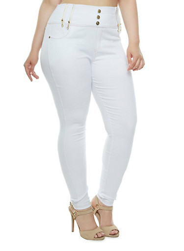 Plus Size High Waisted Stretch Denim Pants,WHITE,large
