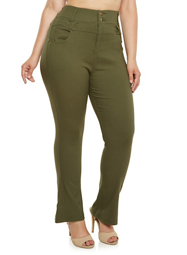 Plus Size High Waisted Flared Pants,OLIVE,large