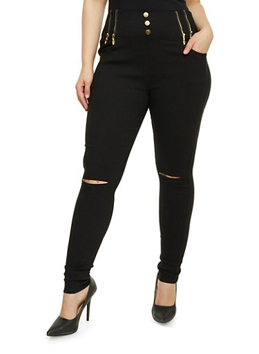 Plus Size Jeggings with High Waist,BLACK,large