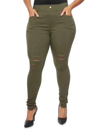 Plus Size Jeggings with Slash Cut Knees,OLIVE,large