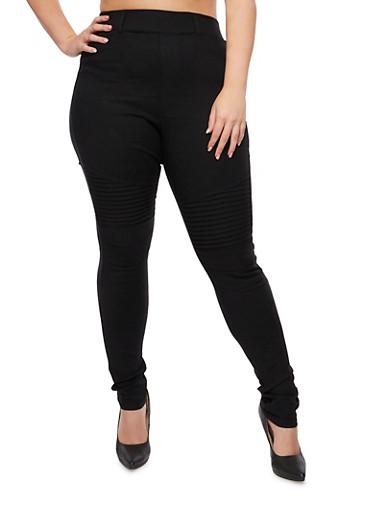 Plus Size Stretch Moto Pants,BLACK,large