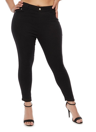 Plus Size Cuffed Stretch Pants,BLACK,large