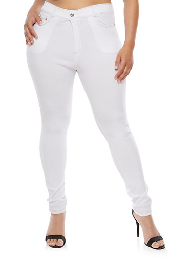 Plus Size Solid Stretch Jeggings,WHITE,large