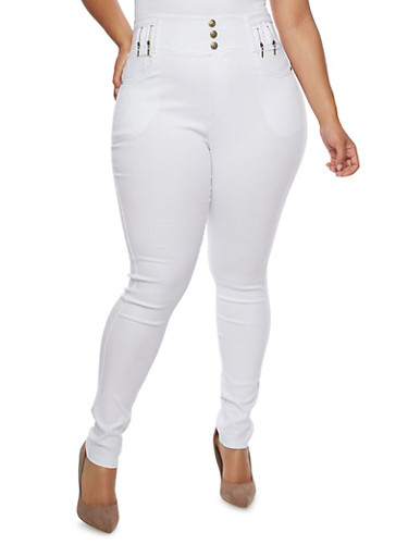Plus Size Solid High Waisted Jeggings,WHITE,large