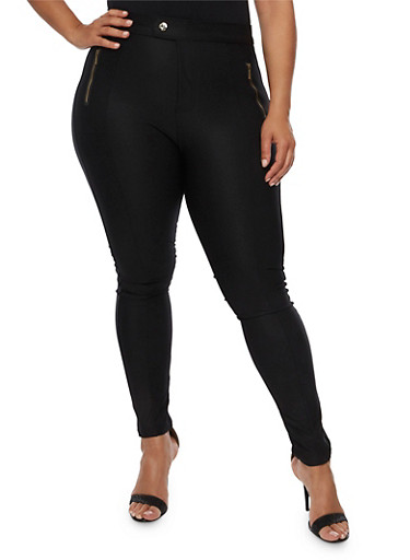 Plus Size Solid Stretch Pants,BLACK,large