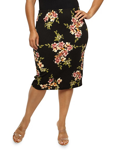 Plus Size Floral Textured Knit Skirt at Rainbow Shops in Daytona Beach, FL | Tuggl