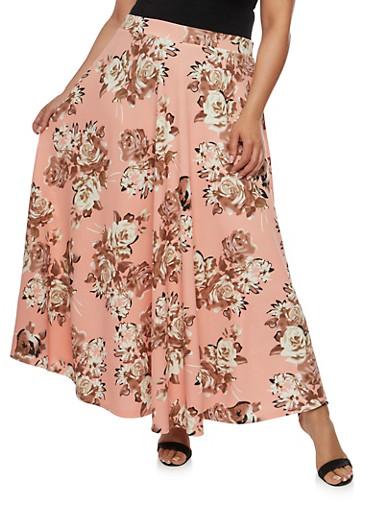 Plus Size Crepe Knit Floral Maxi Skirt,BLUSH  NB 16031R,large