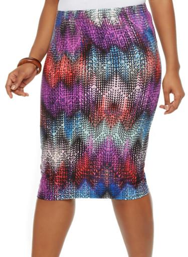 plus size brushed chevron print pencil skirt rainbow